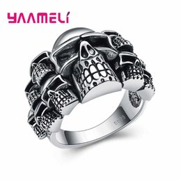 women skull rings UK - Nice Quality Cosplay Jewelry Ring for Women Men Black Retro Skull Design Hallowmas Gifts 925 Sterling Silver Jewelry