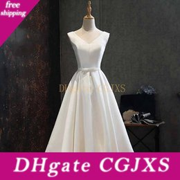 Wholesale dress up for beach party resale online – Satin Beach Dresses For Wedding Party Short Bridesmaid Dresses With Bow Knee Length Party Gowns