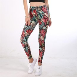 Wholesale ethnic pants woman resale online – 2020 Women Sports Gym Yoga Pants Retro Ethnic printing High waist Hip Stretch Underpants Running Fitness Yoga Pants legginsy