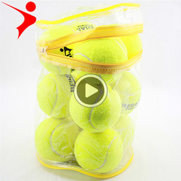 elasticity ball NZ - 12pcs Lot High Qlity Elasticity Tennis Ball for Training Sport Rubber Woolen Tennis Balls for tennis practi with free Bag