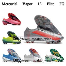 ronaldo shoes free shipping NZ - Free Shipping Mens High Tops Football Boots CR7 Mercurial Vapores 13 Elite FG Soccer Shoes Neymar Superfly XIII 360 Ronaldo Soccer Cleats