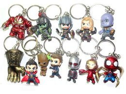 hulkbuster toys Canada - The Avengers Infinity War Iron Man Hulk Hulkbuster Spider -Man American Captain Keychain Action Figure Keyring Doll Pvc Figure Toy