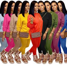 Wholesale plus size jogging sets resale online – New Women Designer Tracksuit Piece Set Sports Leisure Fashion Long Sleeve Pants Outfits Top Trousers Jogging Suit Plus Size Clothing