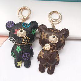 Fashion Key Chain Accessories Tassel Key Ring PU Leather Bear Pattern Fashion Car Keychain Jewelry Bag Charm on Sale