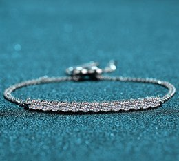silver tennis bracelets NZ - Classic Pure 925 Sterling Silver Created Moissanite Diamond Bracelets for Women Wedding Jewelry Gift Female Tennis