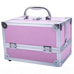 adjustable compartment storage boxes Australia - Makeup Train Case Professional Adjustable Aluminum Makeup Train Cosmetic Cases Makeup Storage Organizer Box with Lock and Compartments 9&quo