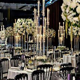 Acryl Kerzenständer 8 Köpfe Arme Kerze Halterung Hochzeit Candelabra Tischtäppchen Blumenständer Halter Candelabrum Dekoration im Angebot