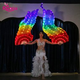 ingrosso costumi di danza del ventre-Casa cm luminoso Rainbow Light Fan LED Veils Bellydance Oriental Belly Dance seta Fan Veil per Costumi donne danzante