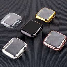 Venta al por mayor de Cubierta para la caja 5 Apple Seguir 38mm 44mm / 40mm 42mm iWatch 40 44 mm alrededor de todo el parachoques del protector de Apple ver series 3 4 Accesorios