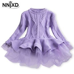 party wear dresses for girl kid NZ - Knitted Sweater Dress for Girls Autumn Winter Clothes Ribbed Long Sleeve Kids Party Costume Casual Wear Princess Christmas Dress