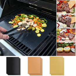 car barbecue grill 2021 - 5pcs set Reusable Non-Stick BBQ Grill Mat Pad Baking Sheet Portable Outdoor Picnic Cooking Easily Cleaned Barbecue Oven Tool