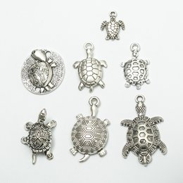 antique turtle necklace Australia - 70pcs Mix Vintage tibetan silver sea turtle turtoise charms antique metal alloy pendants for bracelet necklace earring diy jewelry making