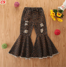 Wholesale wide legged printed pants resale online – Toddler Baby Kids Girls Clothes Leopard Print Bell Bottom Flare Denim Jeans Pants Children Girls Layered Tassel Ripped Hole Pants Y