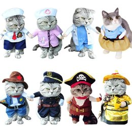 Wholesale pirate clothes online – ideas Funny Cat Clothes Pirate Suit Clothes for Cat Costume Clothing Corsair Halloween Clothes Dressing Up Cat Party Costume Suit