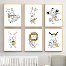 print band posters NZ - Lion sheep rabbit deer monkey Animal band Wall Art Canvas Painting Nordic Posters And Prints Wall Pictures Baby Kids Room Decor