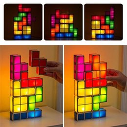 colorful puzzles UK - Diy Tetris Puzzle Led Night Light Retro Style Game Stackable Led Puzzle Romantic Light Colorful Creative Puzzle Decorate