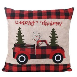 christmas pillows Australia - Christmas Plaid Hold Pillow Case Cotton Cushion Cover Christmas Truck Stripe Pillow Cover Fashion Sitting Room Sofa Decoration DHF576