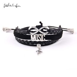 music note bangle NZ - Infinity music women bracelet stack musical note charm adjustable macrame handmade wrap men bracelets bangles for women jewelry