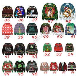 Wholesale dog sweatshirts hoodies for sale – custom Unisex Christmas Hoodies Cartoon Santa Claus Dogs Printed Sweatshirts Long Sleeve Pullover Autumn Winter Sweater Xmas Clothes M XL D9303