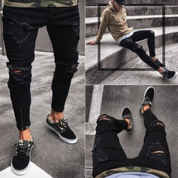 hot tight jeans UK - i5cmu 2020 hot-selling men's New hollow stretch zipper men's skinny Tight Pants jeans and jeans pants trend
