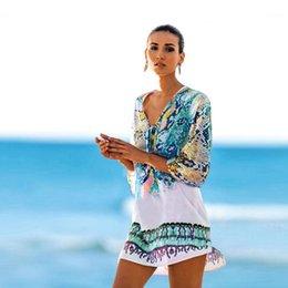 Wholesale swimwear free patterns online – Holiday Beach Clothing Women Chiffon Cover Ups Snake Pattern Printed Swimwear Sexy