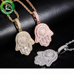 diamond fatima hand Australia - Mens Iced Out Hip Hop Chain Pendants Luxury Designer Necklace Hiphop Jewelry Mens Gold Chain Pendants Diamond Fatima Hand Amulet Charms Rap