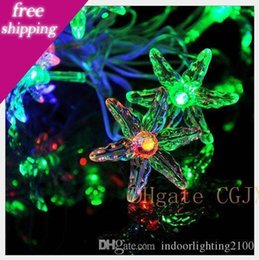 leaf string lights NZ - 4m 20lights Ac110v  220v Led Six Leaf Grass Lamp Strings Halloween Christmas Decoration Festival Night Lights Strings Led Flash Lighting
