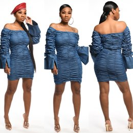 Wholesale bell sleeve dresses for sale – plus size Stacked Split Womens Designer Dresses Slash Neck Flare Sleeve Sexy Slim Casual Above Knee Women Dress