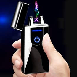 New USB Charging Touch Sensing Lighter Windproof Electronic Ultra-Thin Electric Heating Wire Cigarette Lighter Environmental Protect on Sale