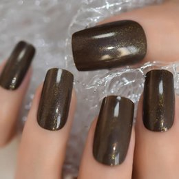 pearl false nails 2020 - Brown Pearl Shimmer Lady Acrylic Nail Tips Medium Pure Color Simple Curved Full Nail Square False cheap pearl false nail