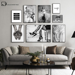 sexy movie cartoons NZ - Black White Poster Fashion Print Sexy Movie Girl Camera Canvas Painting Minimalist Wall Art Picture Modern Living Room Decor