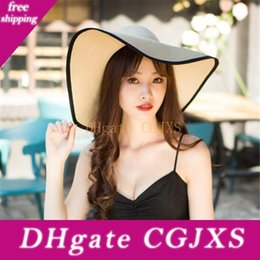 elegant sun hats for women UK - Fashion Folding Church Hat For Women Foldable Floppy Sun Caps Wide Brim Summer Beach Straw Hats Outdoor Elegant Accessories Gift