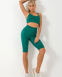 Discount yoga shorts outfit Seamless Yoga Sports Outfits Womens Two Piece set 2 short Sleeve Gymshark Leggings indoor Gym Suit Fitness Sets Sportwea
