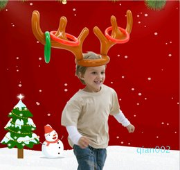 child reindeer antlers UK - New Inflatable Kid Children Fun Christmas Toy Toss Game Reindeer Antler Hat With Rings Hats Party Supplies