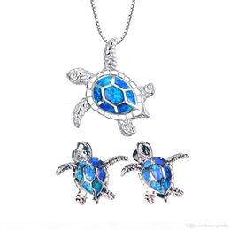 sterling silver turtle jewelry Australia - 925 Sterling Silver Natural Blue Australian Opal Sea Turtle Earrings Necklace Jewelry Sets For Women Ladies Christmas Gifts