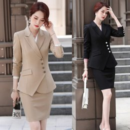 women office clothing Australia - Fashion Khaki Blazer Women Business Suits with Skirt and Jacket Sets Elegant Ladies Work Clothes Office Uniform Styles