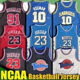 Wholesale NCAA Space Jam Tune Squad 23 Michael Jersey Savages Dennis Scottie Rodman Pippen Jerseys Basketball Jersey Throwback College Jersey