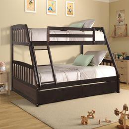 Venta al por mayor de EE. UU. Hoja de madera maciza Twin sobre litera completa con dos cajones de almacenamiento Modern Dorm Dorm Hogar Camas de estar con escaleras Envío rápido SH000092PAA