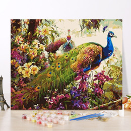 diy peacock home decor UK - Frameless Peacock Animals DIY Painting By Numbers Hand Painted Oil Painting Wall Art Picture Acrylic Unique Gift For Home Decor