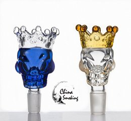 large 18mm bowl NZ - Glass Bowl Skull With Crown Large Size Glass Slide Herb Holder 14mm 18mm male Smoke Accessory For Glass Bong paxB#