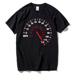 Toptan satış Speedometer Customized T Shirt Men Graphic Letters Car Speed T-Shirt Black Colors Short Sleeve Hip Hop Tops Tee Brand