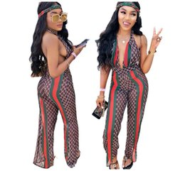 Wholesale sexy overalls sale resale online – 2019 supremn Hot Sale Backless Rompers Women Jumpsuit Halter Print Sexy Overalls For Women One Piece Macacao Feminino