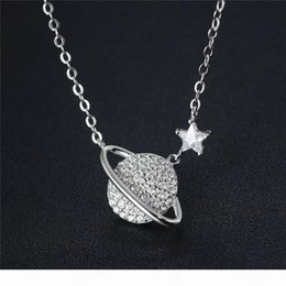 saturn jewelry Australia - 925 Sterling Silver with Cubic Zirconia Saturn and Planet Pendant Necklace for Women Bridesmaid Gift Jewelry