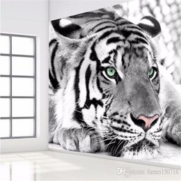 Discount tiger murals photo wallpaper Tiger black and white animal murals entrance bedroom living room sofa TV background wall mural wall pape