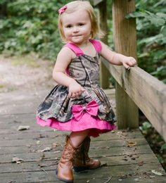 tea party dresses for kids UK - Lovely Camo Baby Girl Dresses 2016 Fushia Straps Bowknot Girls Pageant Gowns Kids Christmas Party Dresses Flower Girl Dress For Wedding