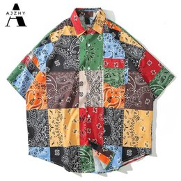 oversized shirts men Australia - Patchwork Bandana Print Streetwear Men Shirt Short Sleeve Tops Oversized Hip Hop Cashew Flower Vintage Hawaiian Shirt Fashion