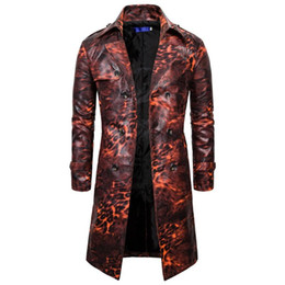 Wholesale leopard trench coat men resale online - 2020 Trench Coat For Men long trench Men s Leather Vintage Steam Punk Gothic Retro Leopard Coat Long Windbreaker g3