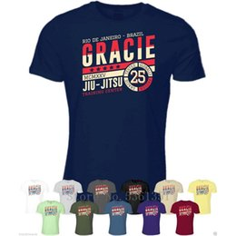 Wholesale mens clothings for sale – custom Loose Black Tshirts Print Tees Gracie Jiu Jitsu Trains Center T Shirt Clothings Brazilian Martials BJJ homme T Shirt Mens