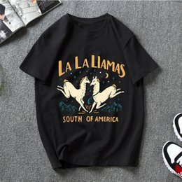 women la shirt UK - La La Llamas T-Shirts Men Personalized Tee Summer Short Sleeve Women T Shirt Streetwear