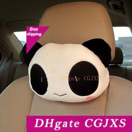 panda covers NZ - 1pcs Pp Cartoon Cute Car Neck Panda Pillow Headrest Neck Rest Support Cushion Pillow Bone Headrest Seat Cover